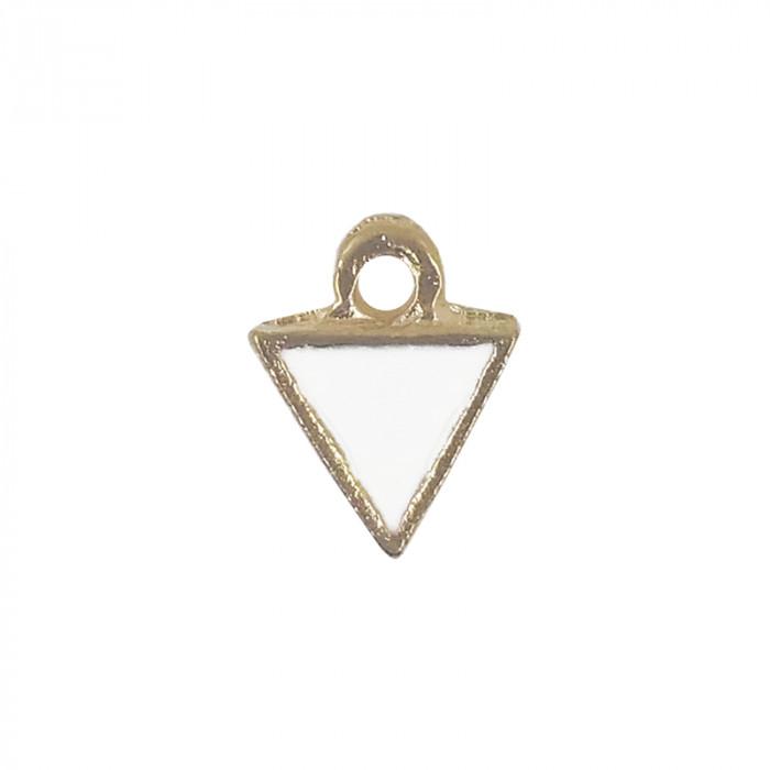 Mini breloque émaillée triangle blanc 10 mm x1