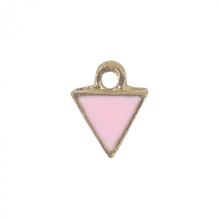 Mini breloque émaillée triangle rose 10 mm x1