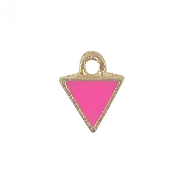 Mini breloque émaillée triangle fuchsia 10 mm x1