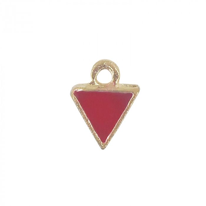 Mini breloque émaillée triangle rouge 10 mm x1