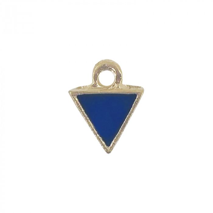 Mini breloque émaillée triangle bleu 10 mm x1