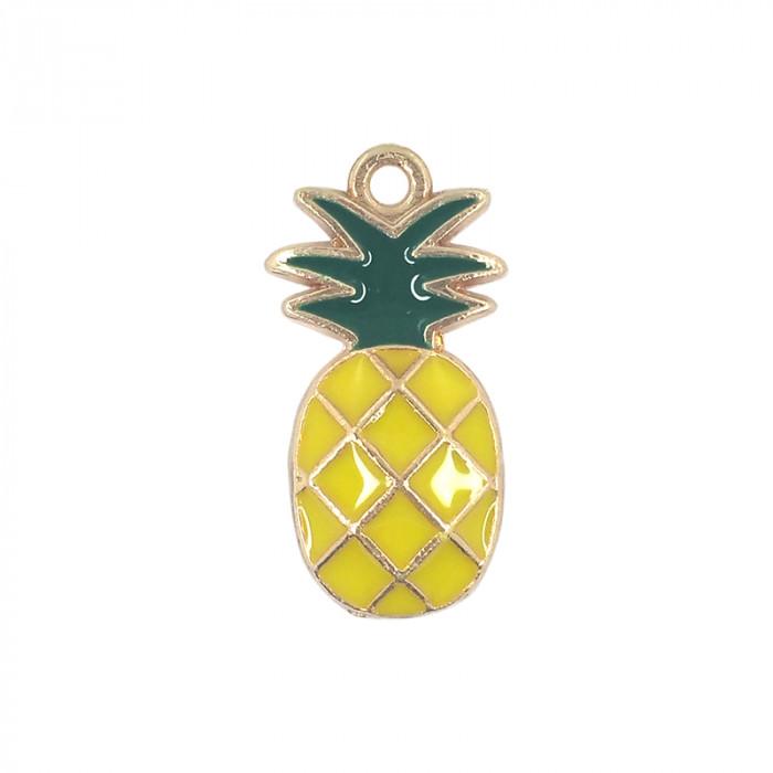 Breloque émaillée ananas jaune x1