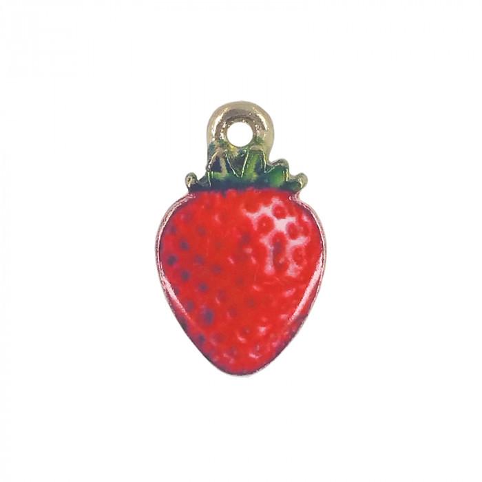 Breloque émaillée fraise