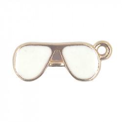 Breloque émaillée lunettes blanches