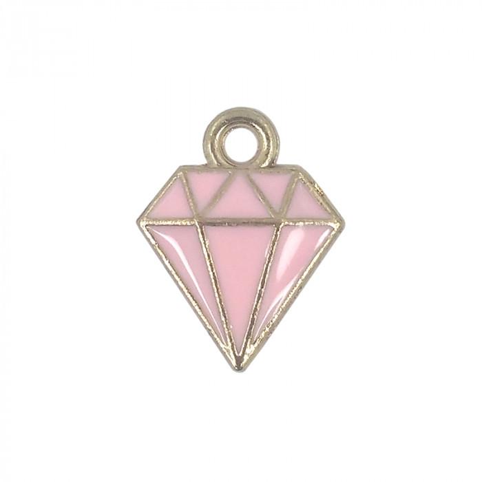 Breloque émaillée diamant rose  x1