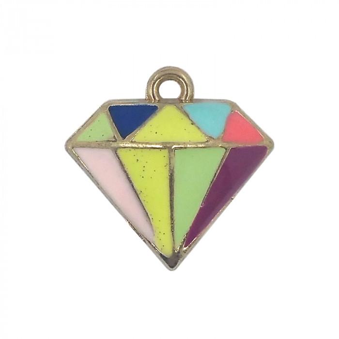 Breloque émaillée diamant multicolore