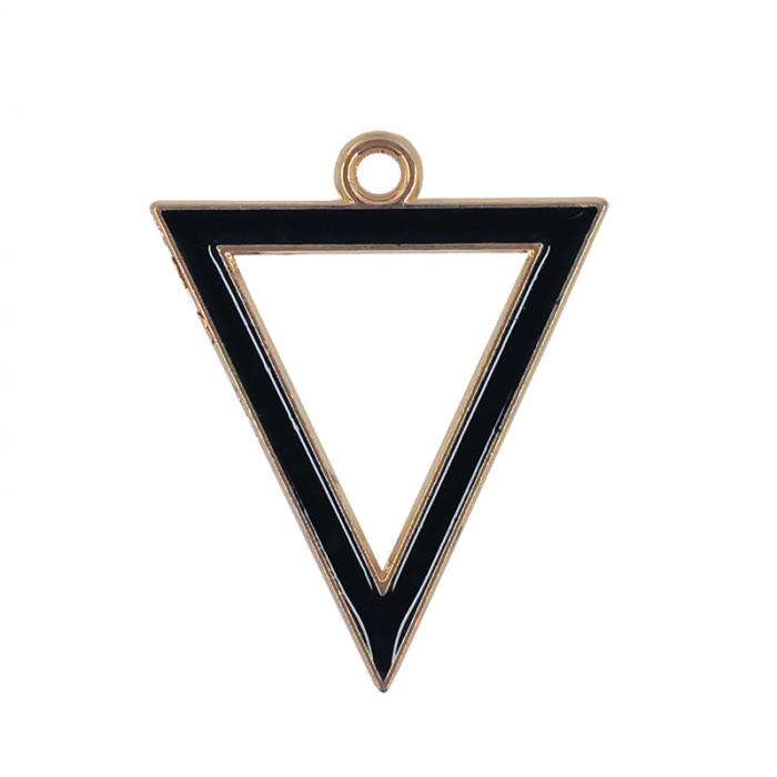 Breloque émaillée triangle noir x1