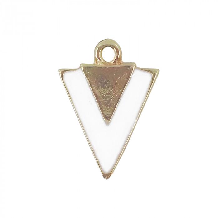 Breloque émaillée triangle blanc doré x1