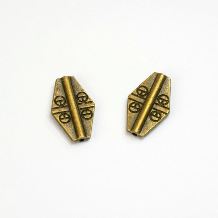 Perle en métal losange 17 mm x1