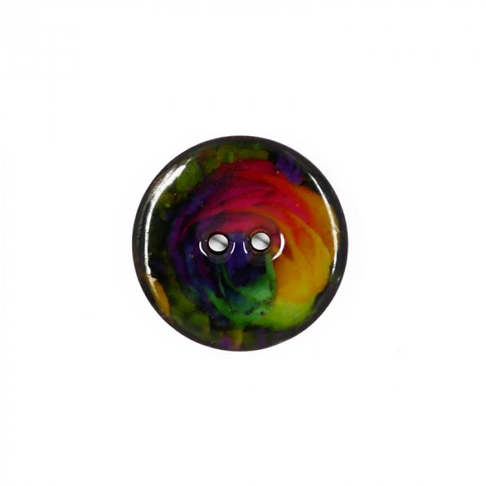 Bouton en coco émaillé multicolore