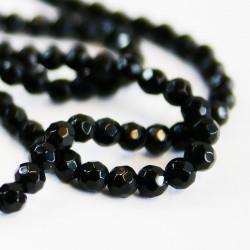 Perle agate facettée 6 mm noir