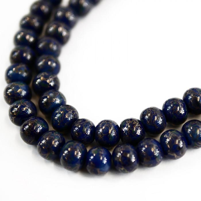 Perle céramique bleue 10 x 12 mm (x1)