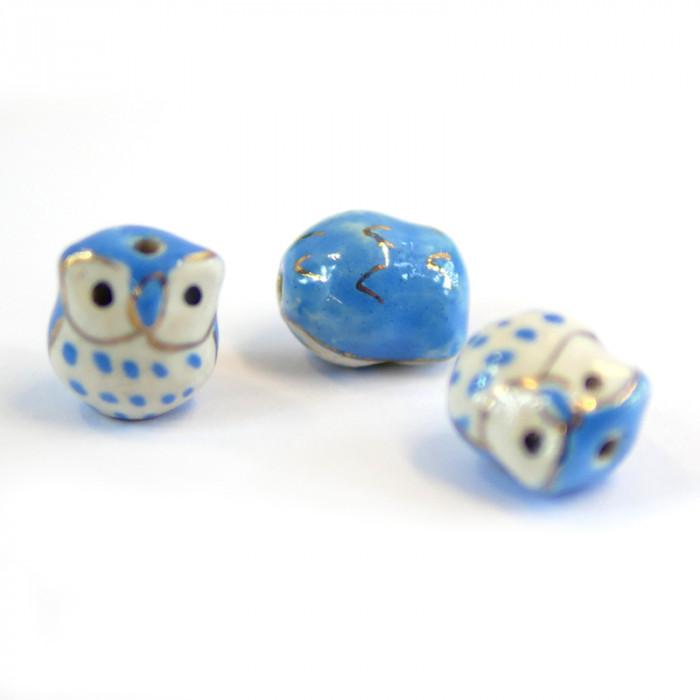 Perle céramique hibou 17 mm x1