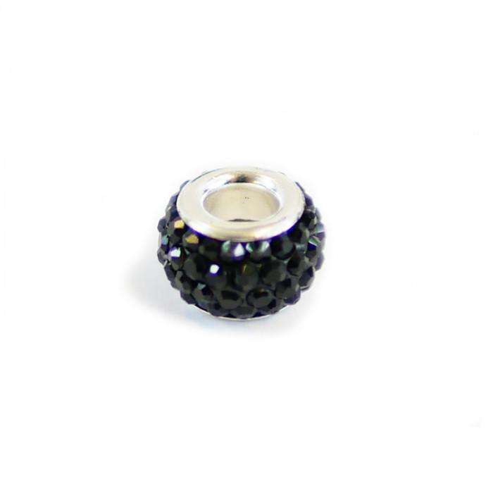 Perle ovale strassée noir 12 x 7 mm