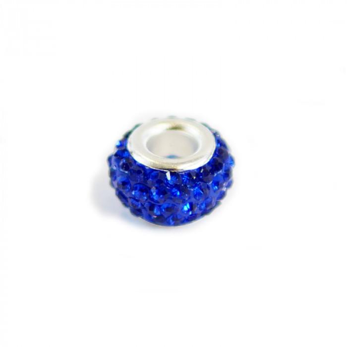 Perle ovale strassée bleu 12 x 7 mm