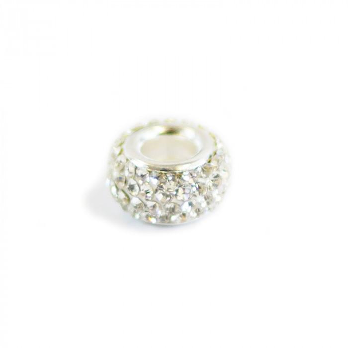 Perle ovale strassée 13 x 7 mm
