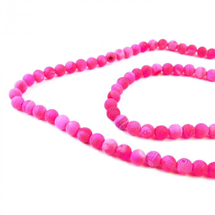 perle agate teintée 6 à 8 mm rose x1