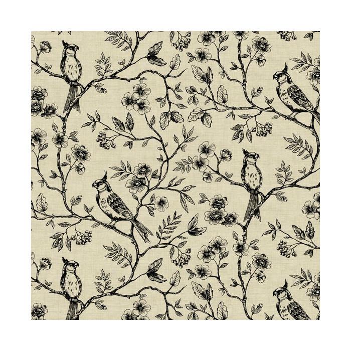 Tissu coton imprimé oiseaux x 10 cm