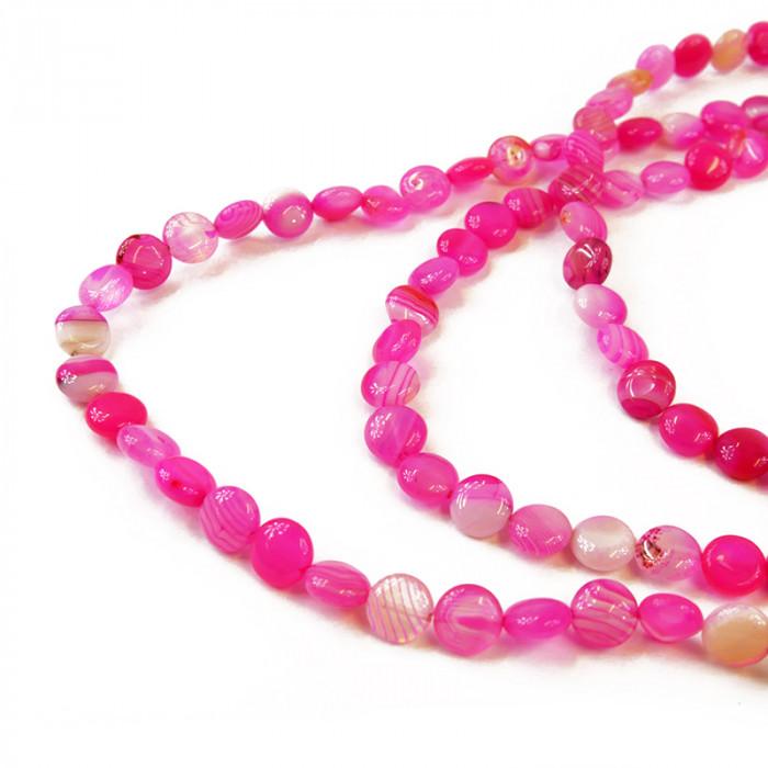 perle pastille agate teintée 10 mm rose x1
