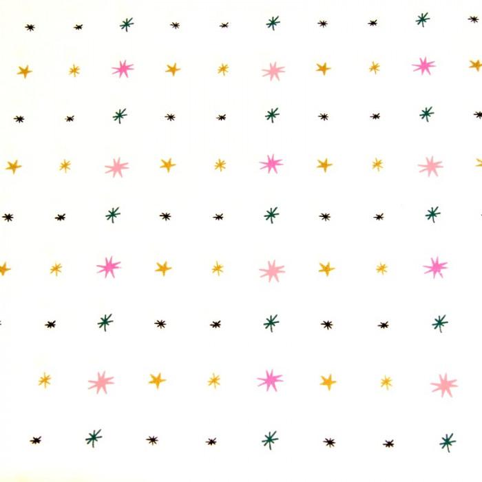 Tissu blanc étoiles or néon