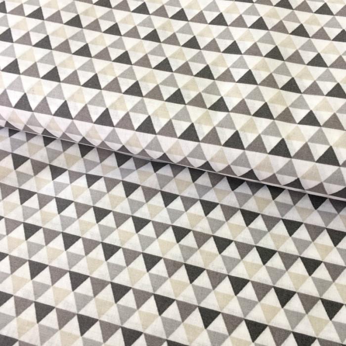 Tissu imprimé triangles gris - Stof