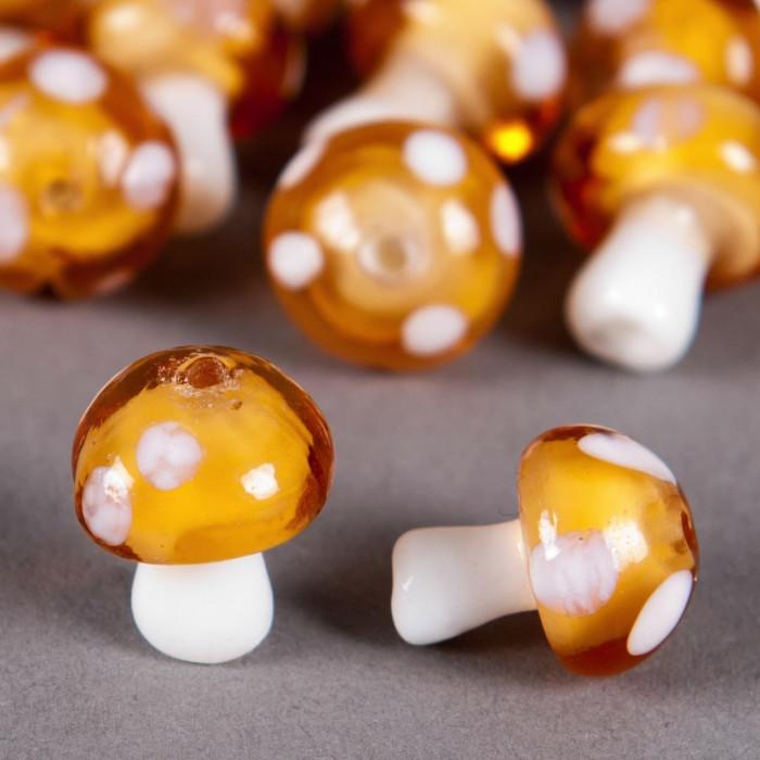 Perle en verre champignon 14mm orange à pois blanc x1