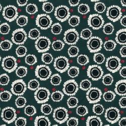 Popeline coton bio vert fleurs et coccinelles - C. Pauli