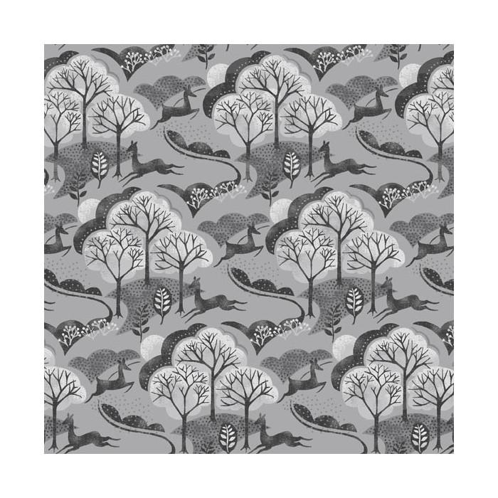 Tissu coton forêt gris x 10 cm