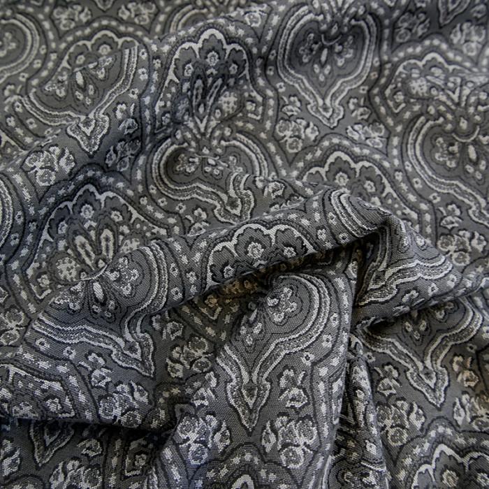 Tissu viscose imprimé élasthanne gris
