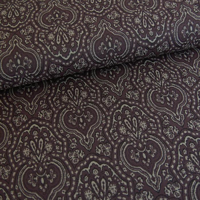 Tissu viscose imprimé élasthanne bordeaux