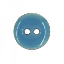 Bouton en nacre émaillée bleu