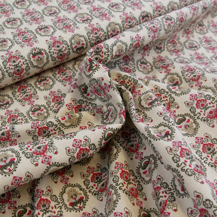 Tissu agathe fleurs - Stof x 10 cm