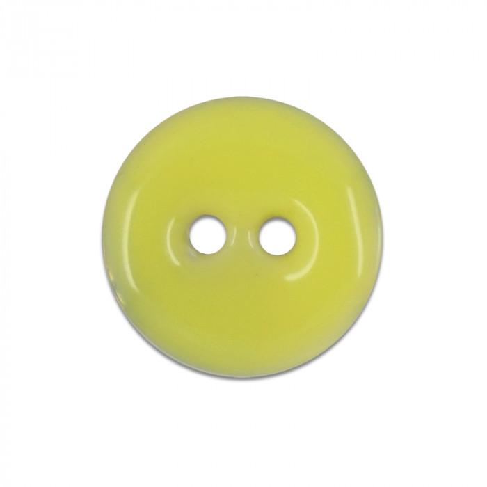 Bouton en nacre émaillée jaune