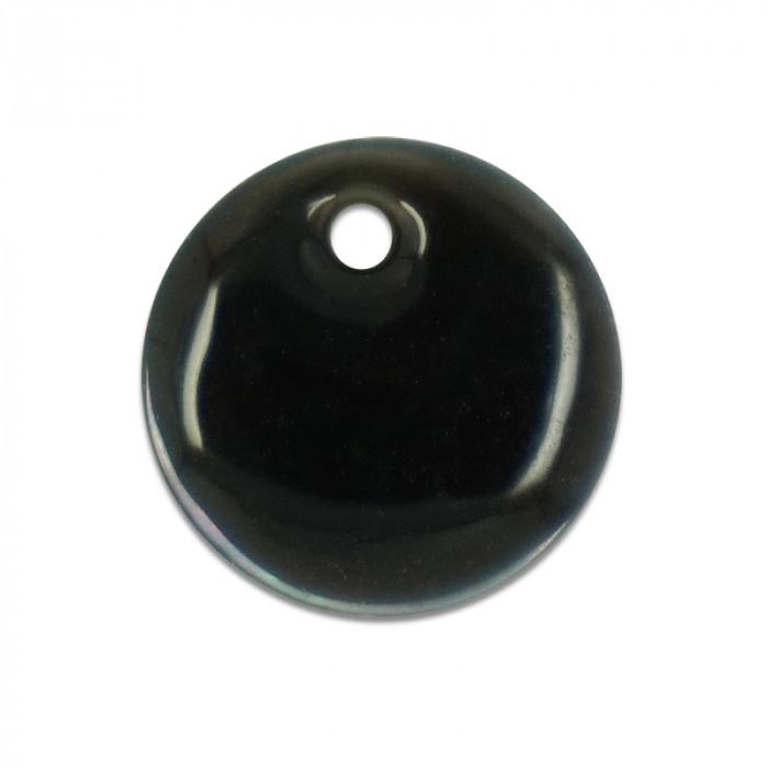 Sequin nacre émaillée 13 mm gris anthracite x1