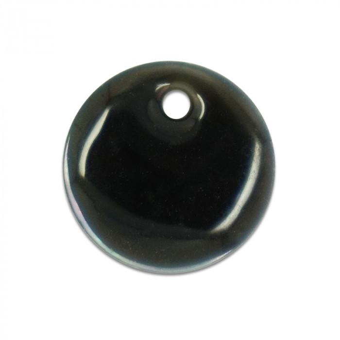 Sequin nacre émaillée 13 mm taupe foncé x1