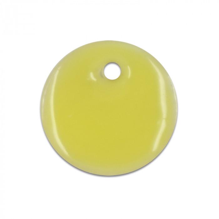 Sequin nacre émaillée 13 mm jaune x1