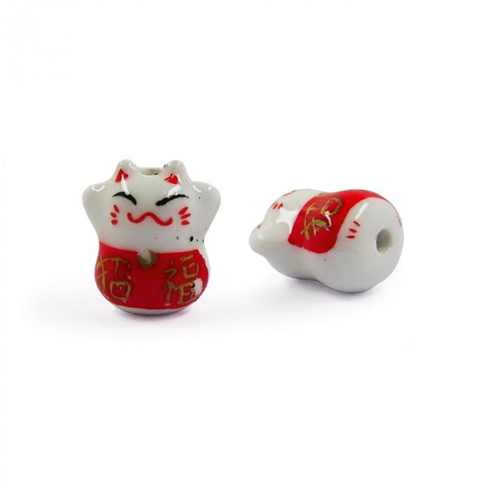 Perle en céramique chat chinois porte bonheur 20mm x1