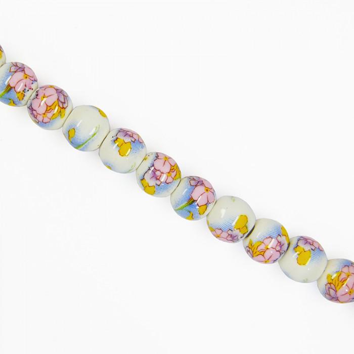 Perle en céramique à fleurs multicolores 8mm x1