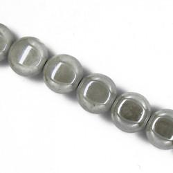 Perle pastille en céramique 15mm gris clair