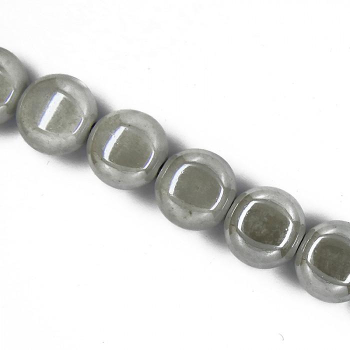 Perle pastille en céramique 15mm gris clair x1