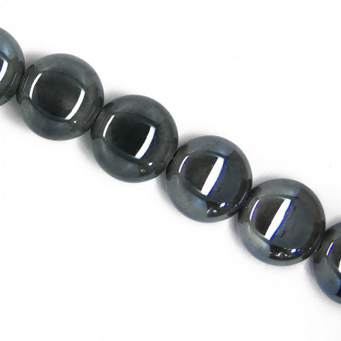 Perle pastille en céramique 15mm gris foncé x1
