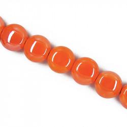 Perle pastille en céramique 15mm orange