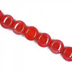 Perle pastille en céramique 15mm rouge