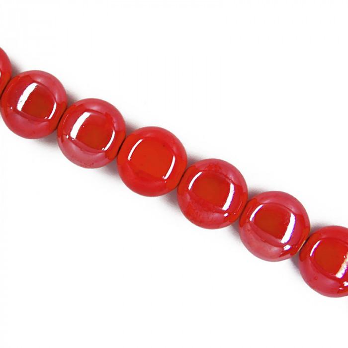 Perle pastille en céramique 15mm rouge x1
