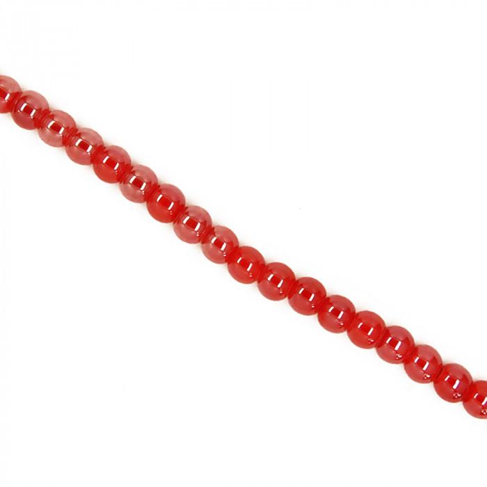 Perle en céramique unie rouge