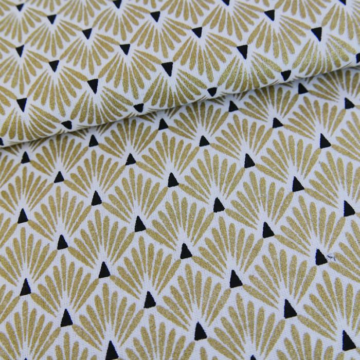 Tissu cretonne écailles dorés x 10 cm