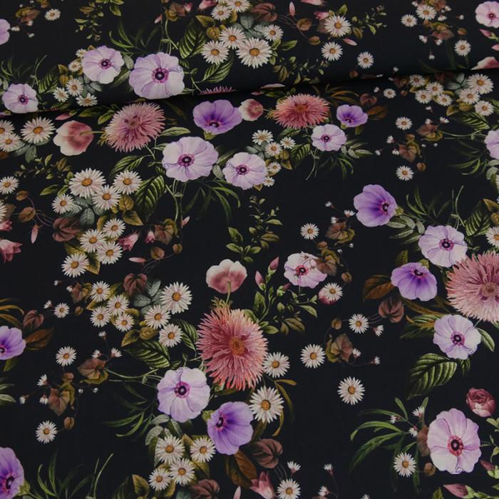 Tissu crêpe polyester imprimé fleurs x 10 cm