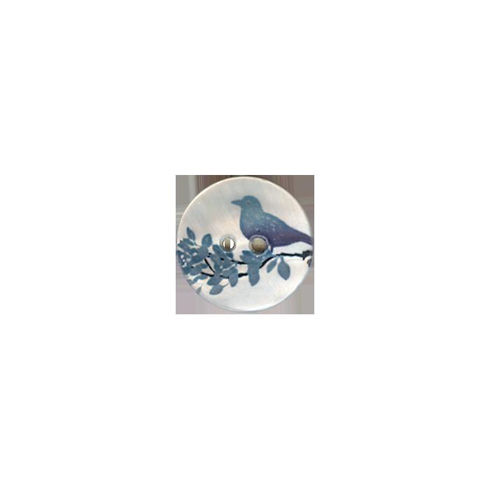 Bouton en nacre 25mm motif oiseau
