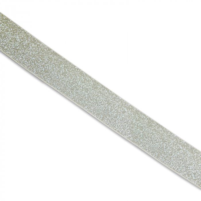 Élastique blanc lurex argenté