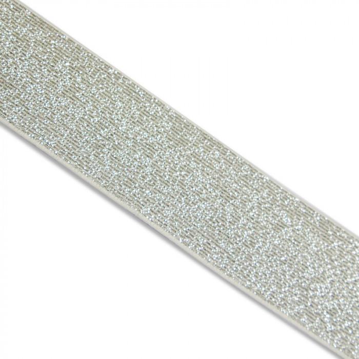 Élastique lurex blanc argent x 10 cm